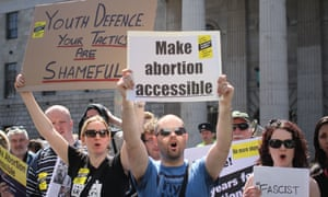 Pro-choice activists protest against a pro-life march on Dublin's O'Connell Street.