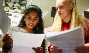 Students Dharshini Sambamoorthi, left and Jenny Tipple, friends of Olympic medal winning gymnast Amy Tinkler, receiving their GCSE results at Durham High School for Girls.