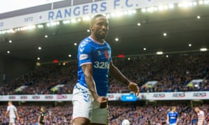 Jermain Defoe celebrates scoring Rangers' fourth goal, and his second, in their 5-0 win against Hamilton.