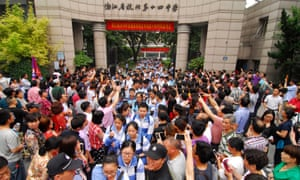 Students leaving a gaokao college entrance exam in Hangzhou, China