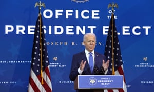 Joe Biden speaks during an event to name his economic team at the Queen Theater on 1 December 2020 in Wilmington, Delaware.