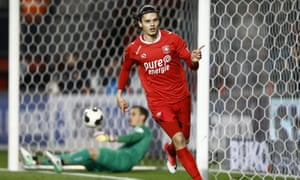 Enes Unal celebrates one of his 19 goals on loan from Manchester City at the Dutch side Twente last season. The striker will now join Villarreal.