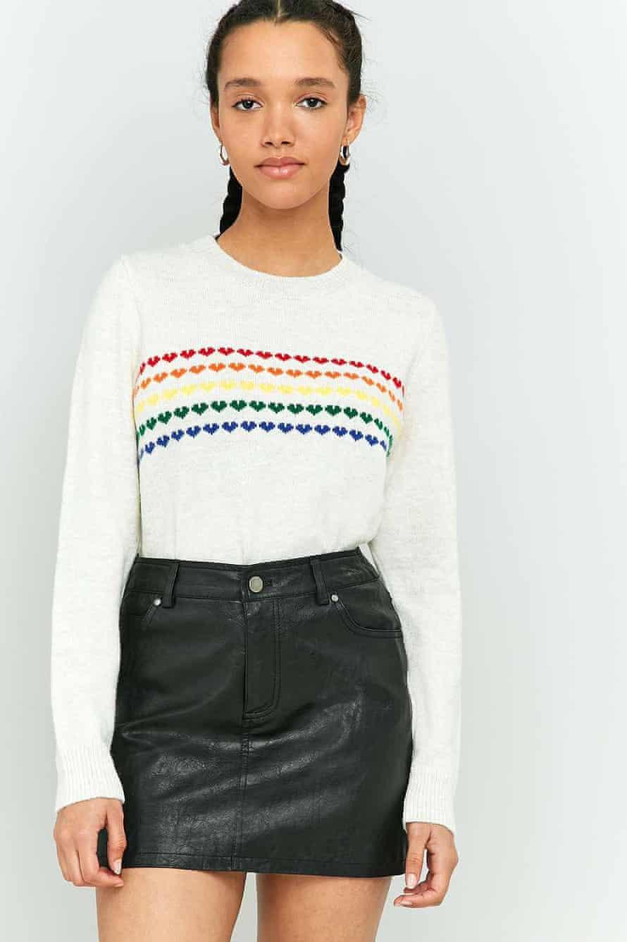 Urban Outfitters' rainbow heart motif jumper