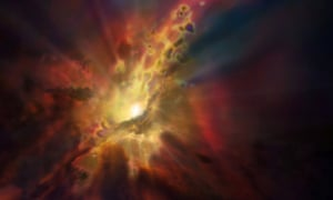 An artist illustration released by the European Southern Observatory shows gas clouds plunging toward the supermassive black hole at the centre of a galaxy.