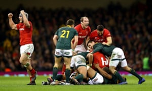 Alun Wyn Jones of Wales celebrates victory as the final whistle goes at the end of the International Friendly match between Wales and South Africa.