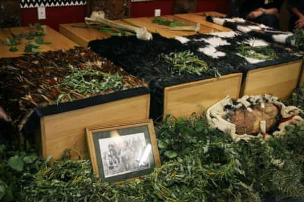 Boxes containing the remains of Māori stolen by European settlers in New Zealand. Members of the Rangitāne o Wairau tribe carried out a repatriation ceremony