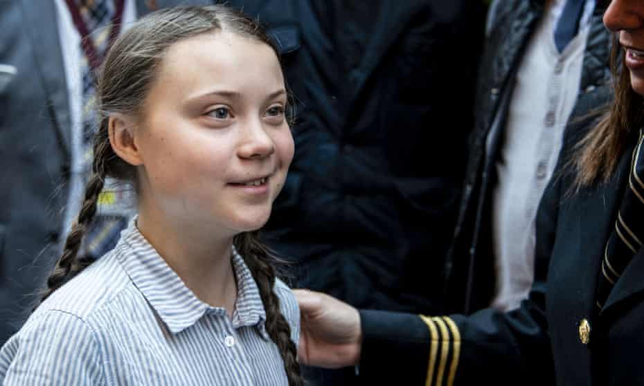 Greta Thunberg in Rome, Italy, before heading to London