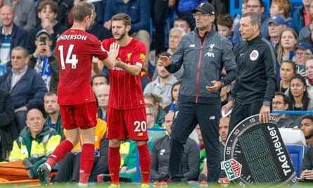Liverpool make a substitution at Chelsea this season.