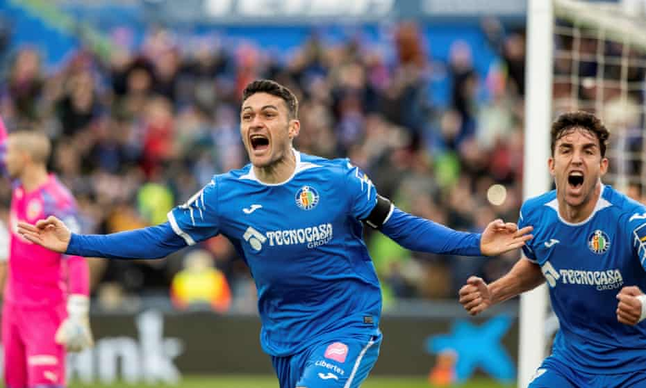 Jorge Molina celebrates after scoring one of two goals against Valencia in the 3-0 win.
