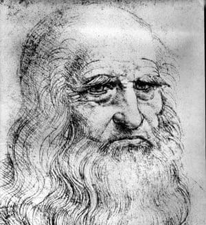 A detail from a self-portrait by Leonardo da Vinci