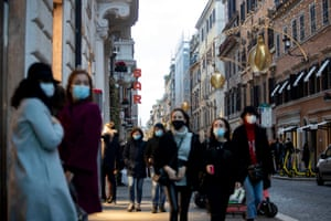 Christmas lights on a shopping street in Rome, Italy, on 5 December, 2020. On 3 December, the Italian government passed a strict package of restrictions aimed at limiting movement during the festive season amid the second wave of Covid-19 infections, which includes a ban on travelling between regions between 21 December 2020 and 6 January 2021 and a ban on moving outside one's hometown on Christmas Day, St Stephen's Day and New Year's Day.