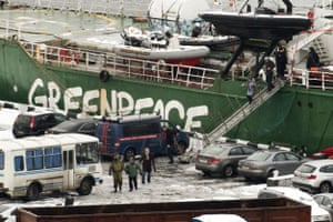 Peter Willcox and others leaving the Arctic Sunrise in Murmansk after its seizure by Russian authorities.