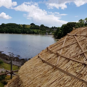New thatch on a roof overlooking Dittisham Mill Creek