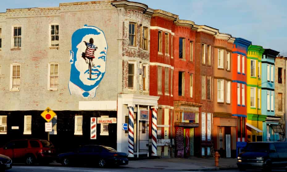 A small mural of Martin Luther King in the city's Sandtown district in west Baltimore.
