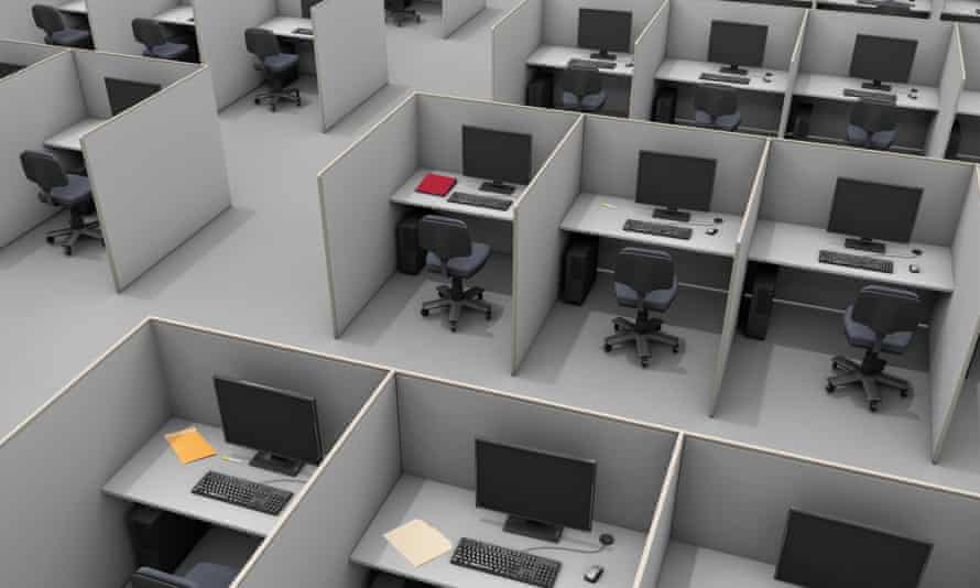 An aerial view of office cubicles.