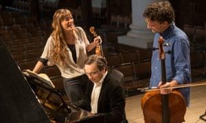 Violinist Nicola Benedetti, cellist Leonard Elschenbroich and pianist Alexei Grynyuk at Cheltenham.