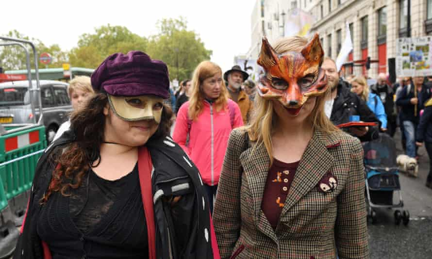 Campaigners taking part in the People's Walk for Wildlife.