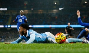 Raheem Sterling goes down after a challenge from John Stones. Bacary Sagna says officials behind the goal could aid decision making.