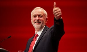 Labour leader Jeremy Corbyn delivering his speech to the annual party conference in Liverpool.
