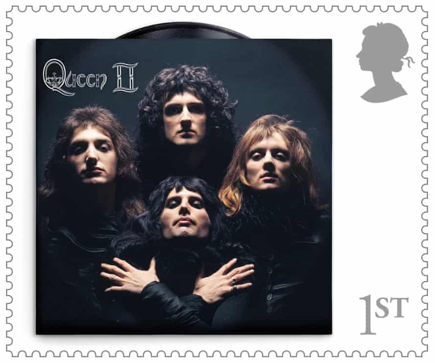 The stamp design featuring the cover from Queen II.
