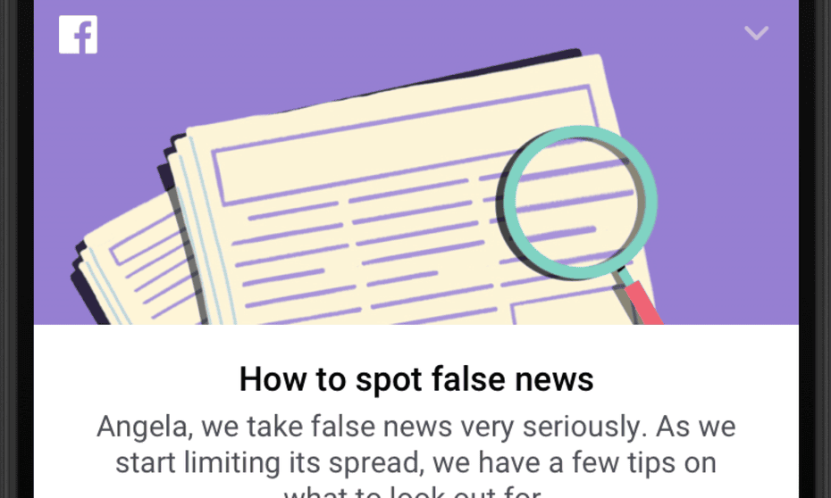 Facebook's page on fake news, with a nod to the German chancellor, Angela Merkel.