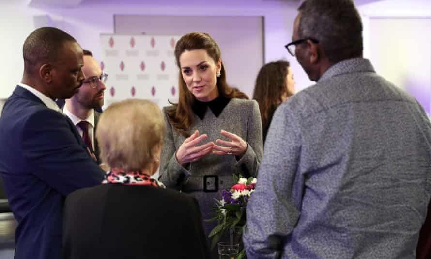 The Duchess of Cambridge speaks to Holocaust and genocide survivors after the memorial in Westminster