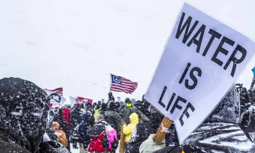 The Oceti Sakowin Camp in North Dakota, the day after the Army Corps of Engineers denied the easement needed to build the pipeline. Dakota Access Pipeline protest, Standing Rock, North Dakota - 05 Dec 2016