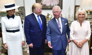 US President Donald Trump and his wife Melania pose for a photo with Prince Charles and Camilla, the Duchess of Cornwall.