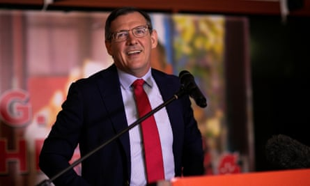 The Northern Territory chief minister, Michael Gunner, addresses supporters in Darwin on Saturday night after the state election: 'I am very confident Labor will form the next government of the Northern Territory.'