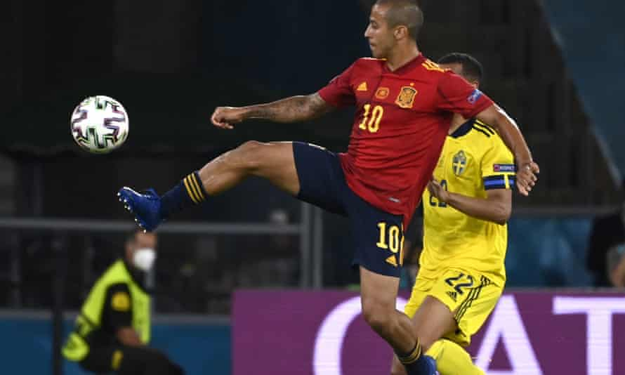 Thiago Alcântara (left) in action during Spain's Euro 2020 opening match against Sweden