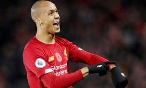 Fabinho celebrates scoring Liverpool's opener