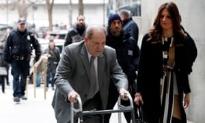 Harvey Weinstein arrives at court in New York. The judge told him: 'Mr Weinstein, I cannot implore you more not to answer the phone.'