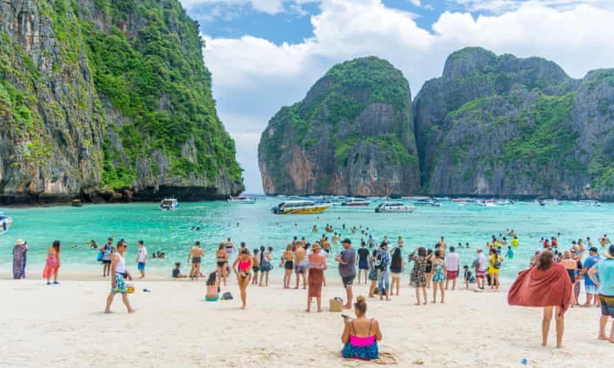 Tourists at Maya Bay in Thailand