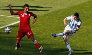 Reza Ghoochannejhad is powerless to stop Lionel Messi scoring Argentina's injury-time winner against Iran in 2014.