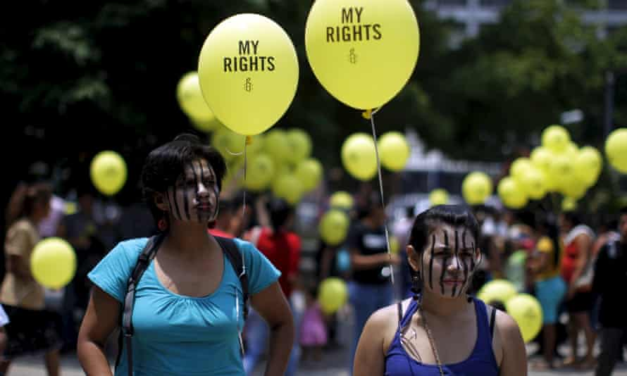 Women protest anti-abortion laws in El Salvador, which has one of the highest rates of Zika infection – and where even miscarriages can be treated as murder.