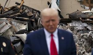 Donald Trump touring an area damaged during demonstrations following the shooting of Jacob Blake in Kenosha, Wisconsin, September 2020
