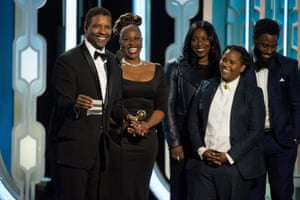 Denzel Washington accepting the Cecil B. DeMille Award for his outstanding contribution to the entertainment field