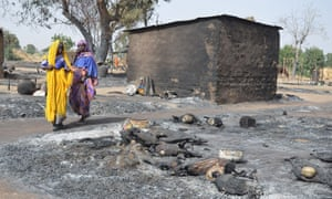 Women fleeing Boko Haram Islamists walk past burnt livestock at Mairi village on the outskirts of Maiduguri, capital of Borno state, on 6 February.