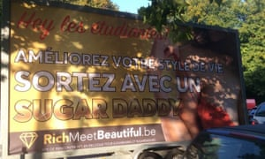 Dating website RichMeetBeautiful advertises on posters near university campuses in Brussels