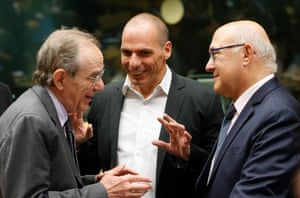 Italian Finance Minister Pier Carlo Padoan (L-R), Greek Finance Minister Yanis Varoufakis, and French Finance Minister Michel Sapin at the start of a special Eurogroup Finance ministers meeting on Greek crisis at EU council headquarters in Brussels, Belgium, 25 June 2015.