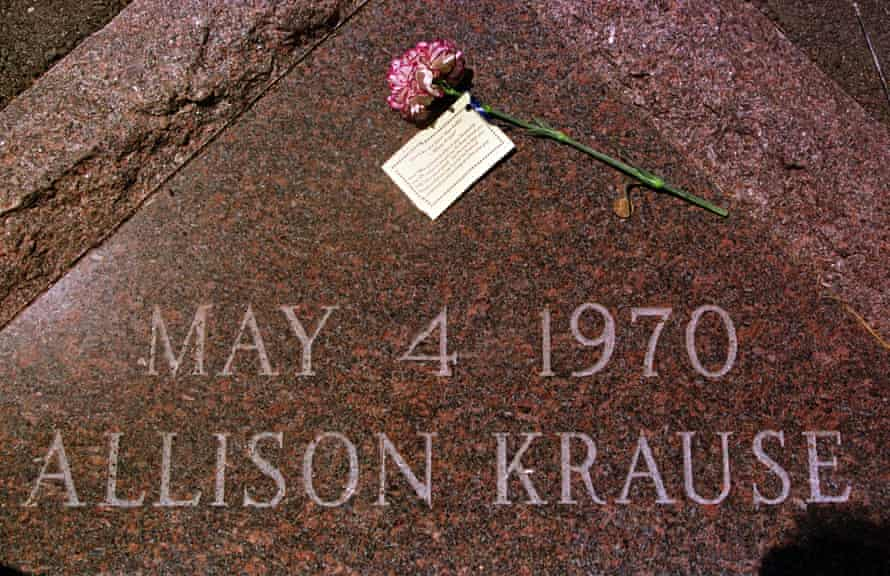 A plaque marks the spot where Kent State University student, Allison Krause, was felled by a bullet from the Ohio national guard on 4 May 1970 during a demonstration protesting the war in Vietnam.