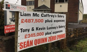 A sign protesting Sean Quinn's exclusion from Quinn Industrial Holdings.