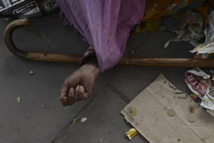 A beggar in New Delhi.