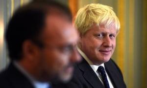 Boris Johnson, right, with his Mexican counterpart Luis Videgaray Caso