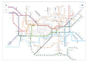 Tube map of the services that are and are not running as of 18:43