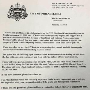 Philadelphia Police guidance on potential Eagles celebrations