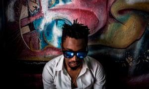 A Congolese hip-hop enthusiast inside a recording studio in Kinshasa.