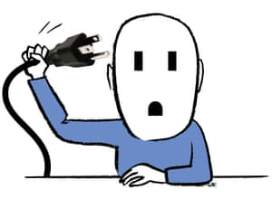 Illustration of person with plug as face and socket