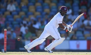 Darren Bravo plays to the leg-side during the first Test against England at Kensington Oval in January 2019.