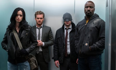 Krysten Ritter, Finn Jones, Charlie Cox and Mike Colter in The Defenders.